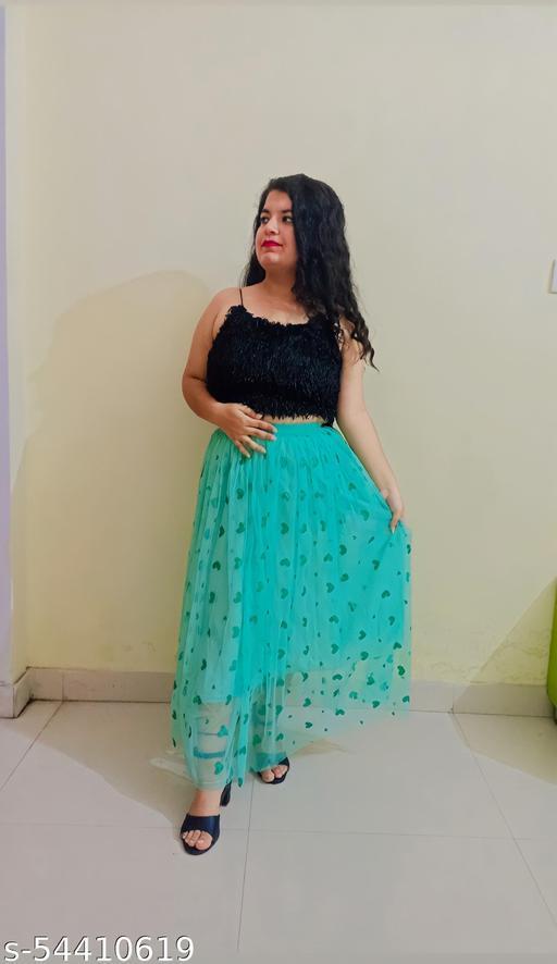 Love Print Net Skirt