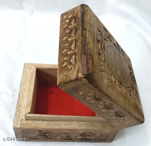 Accessories Handcrafted Wooden Jewellery Box  *Product Category* Wooden Jewellery Box  * Material* Wood  * Size( L x W)* 4 in x 4 in  * Package Include* 1 Piece Of Jewellery Box Which Having Red velvet Lining To Keep Jewellery Safe  *Sizes Available* Free Size *    Catalog Name: Stylish Handcrafted Wooden Jewellery Box Vol 1 CatalogID_811380 C51-SC1246 Code: 481-5441517-
