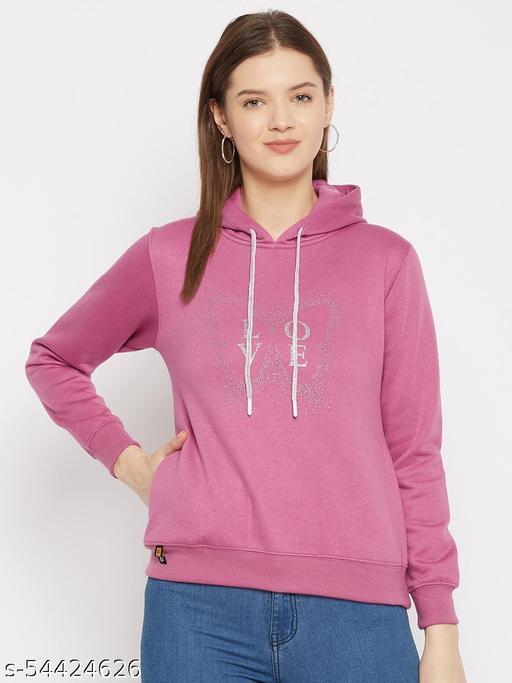 Women's Onion Pink Printed Hooded Sweatshirt