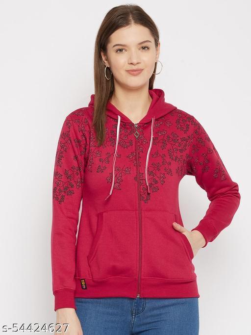 Women's Maroon Printed Hooded Sweatshirt