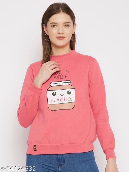 Women's Pink Printed Round Neck Sweatshirt