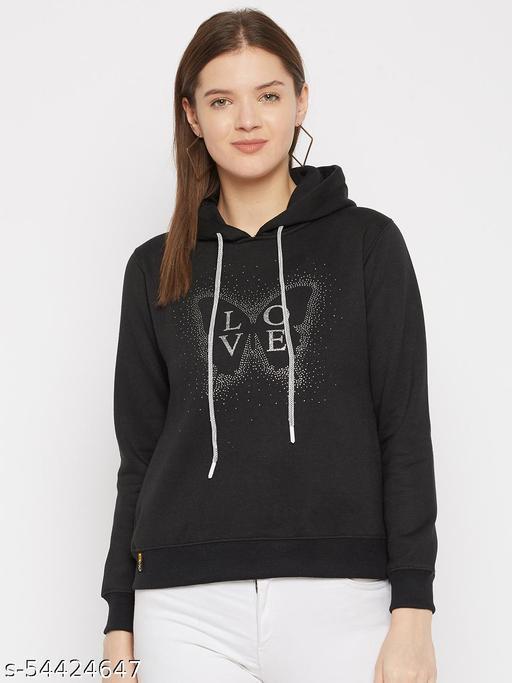 Women's Black Printed Hooded Sweatshirt