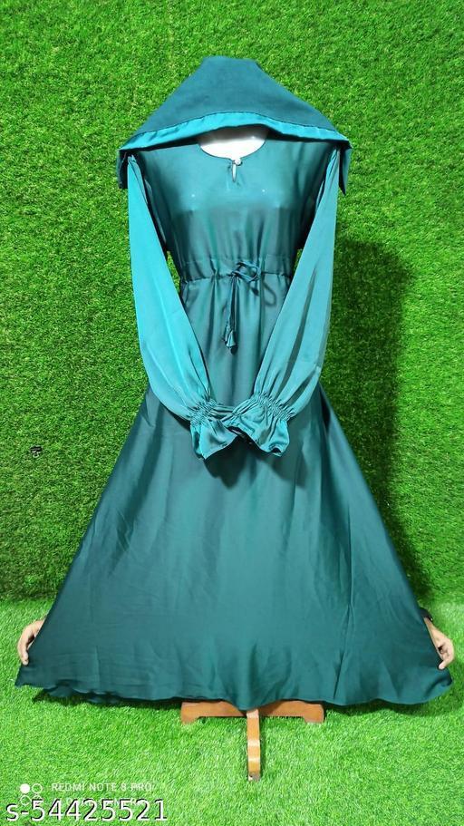 Dua Abaya Simple Fancy Nida Fabric Umbrella Burqa Elastic Style Sleeves Front Bell Design With Hijab