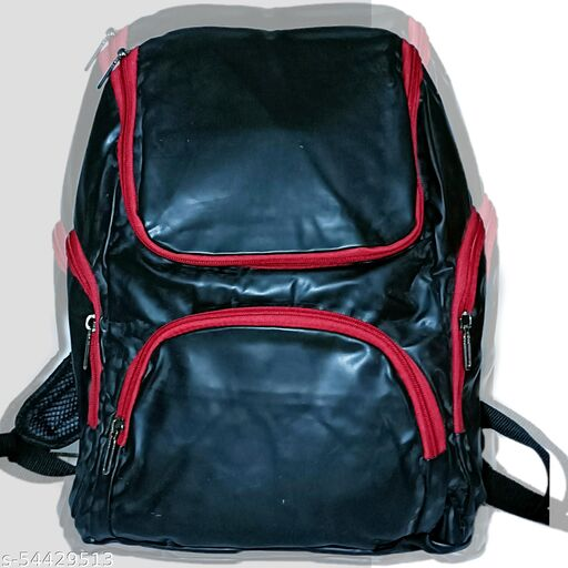 Met Black First Leather Material Backpack