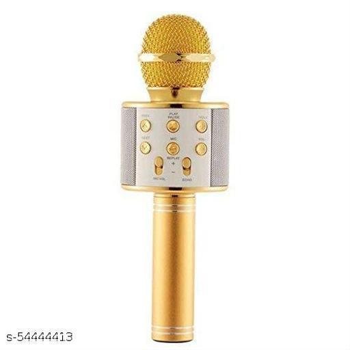 Kajtosh-Wireless Handheld Bluetooth Mic with Speaker (Bluetooth Speaker) Audio Recording and Karaoke Feature Microphone -(Gold)Microphone
