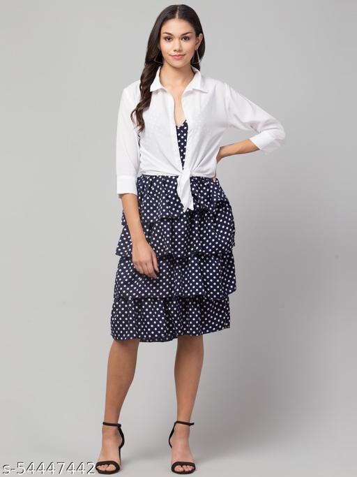 Women Maxi Blue, White Dress