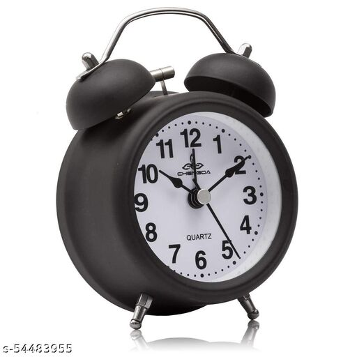 Dityaa Enterprise Twin Bell Alarm Clock for Heavy Sleepers with Night Led Display (Black)