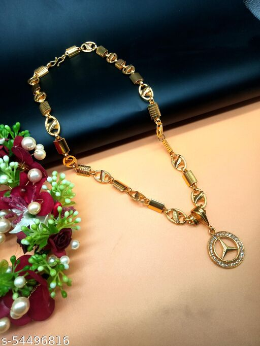 Fancy Pendant Locket Chain Gold Plated Rich Look Long Size Latest Designer Daily Use Jewelry for men or boy100522