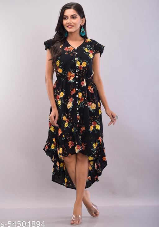 Printed floral short sleeve rayon crepe dress