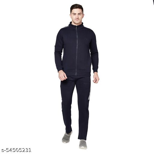 Shramanay Polycotton Solid Smart Fit Collar Zipper Tracksuit-Navy
