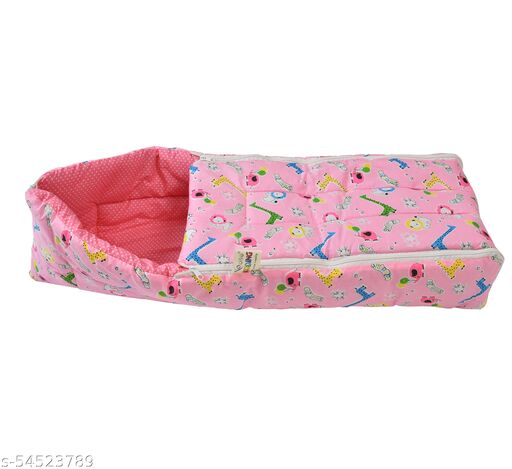 Cotton Baby Carry Bed Cum Sleeping Bag and Flat Bed for Newborn Babies Easily Portable and Light Weight to Carry