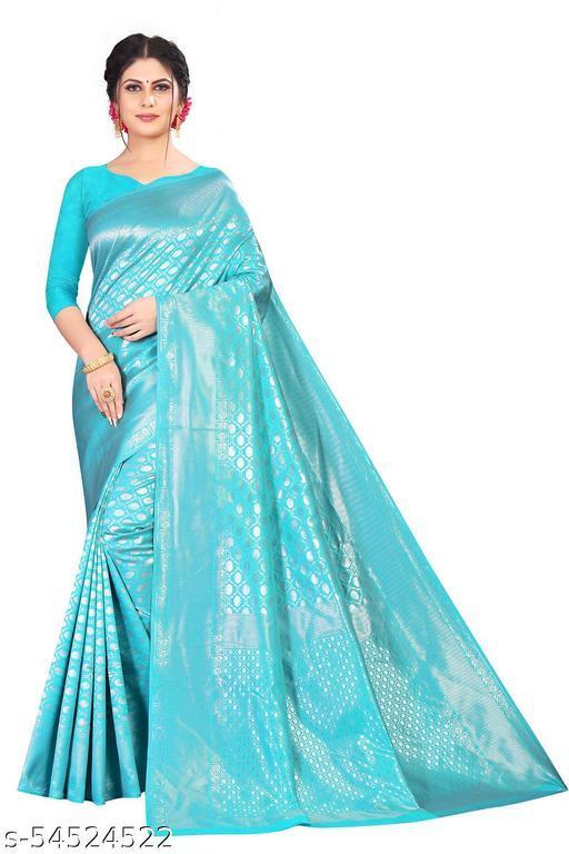 Women's Sky Blue Banarasi Silk Saree