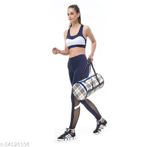 Gym Bag Duffel Bag with Shoulder Strap for Women with Wrist Support Band (Gray)