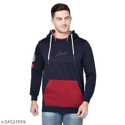 Shramanay Polycotton Embroidered Smart Fit Hood Sweatshirt-Navy