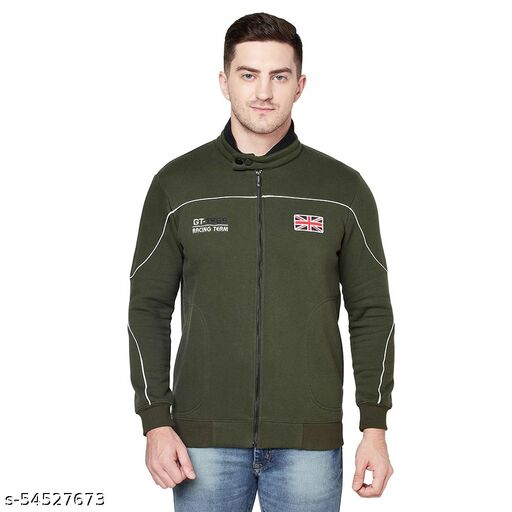 Shramanay Polycotton Embroidered Smart Fit Collar Zipper Sweatshirt-Olive