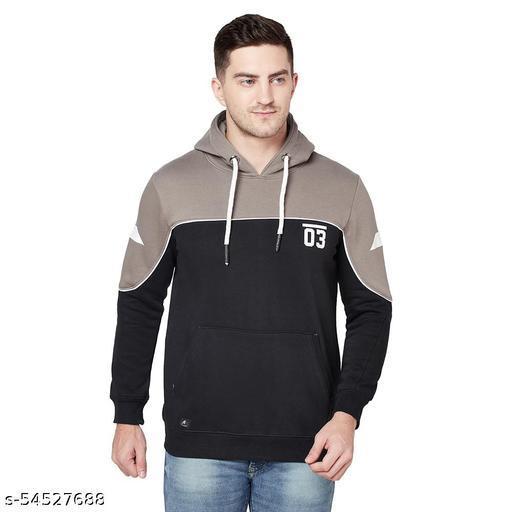 Shramanay Polycotton Printed Smart Fit Hood Sweatshirt-Black