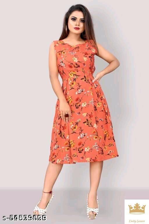 re orange flower prints western  Dresses