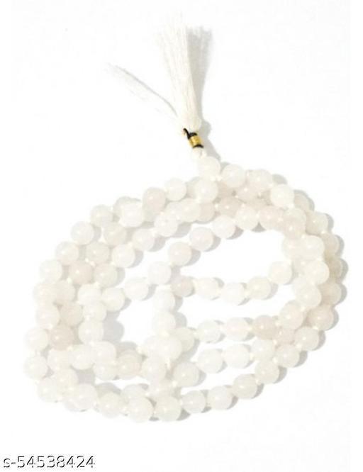 Raviour Lifestyle White Agate Hakik 108 Beads Buddhist Prayer Japa Rosary Wearing Fashion Wear Mala Astrological Purpose