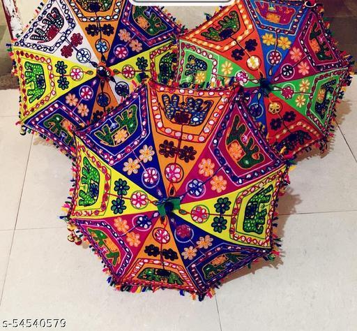 THE DISCOUNT STORE Pack of 3 Sun Protection Rajasthani Home Handicrafts Jaipuri Elephant Print Handmade Embroidery Work Umbrella 24''x 28'' (Multi Colour)