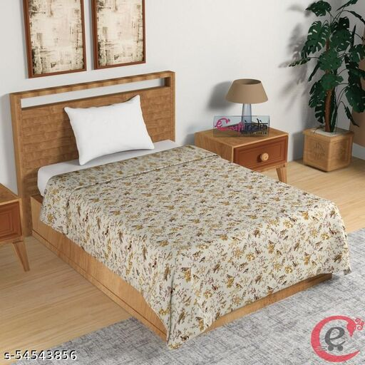 H'Decor Yellow and Brown Birds & Floral Print Single Bed Reversible AC Cotton Dohar