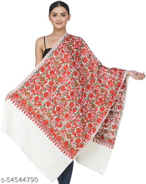 Exotic india Solitary-Star Woolen Stole from Kashmir with Ari-Embroidered Flowers and Vines