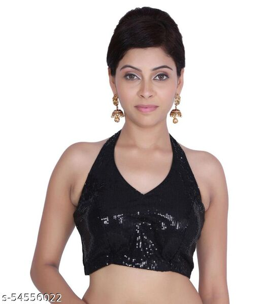 NK PAL STYLE Girl's & Women's Cotton Silk Readymade Halter Neck Sleeveless Blouse (Fit Up To Bust Size : 38 to 42)