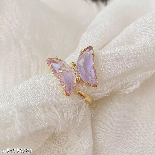 Gorgeous Gold Plated Purple Crystal butterfly Ring Set For women and Grils