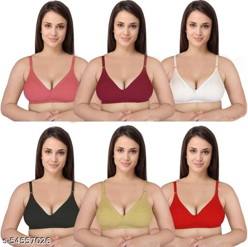 Styles Women Non Padded Broad Belt Bra Pack Of  6