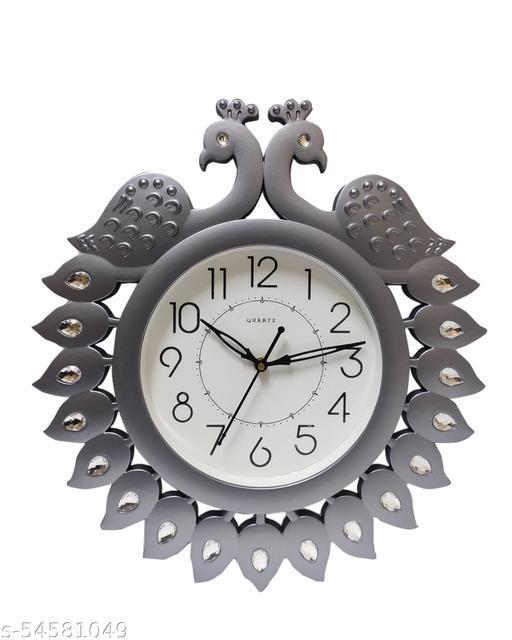 LAMP HOUSE Peacock Design Wall Clock (Silver)