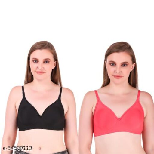 CUTONS Women's Non Padded Bra Combo (Black & Dark Saffron) With Extra Transparent Straps & Colored Hooks