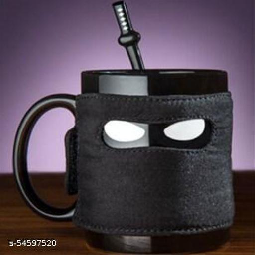 Awestuffs Ninja Tea Coffee Mug with Coaster and Stirrer 300ml