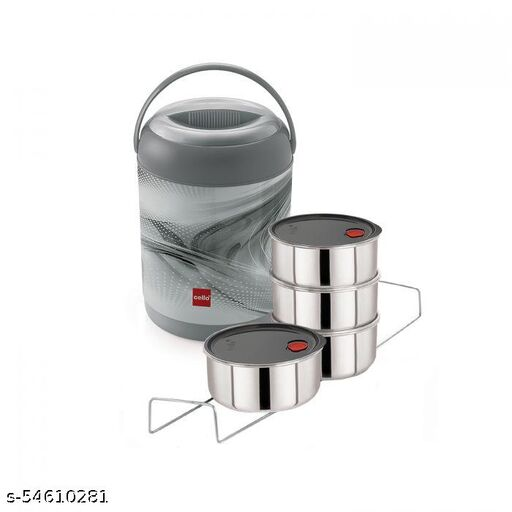 Cello Mark Deluxe 4 Containers Lunch Box  (400 ml) GREY