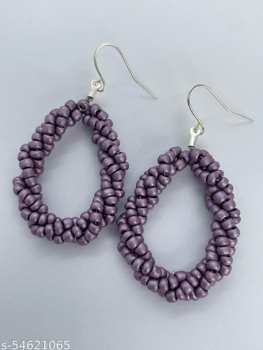 Bonita's Metallic Mauve Beaded Earrings