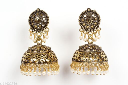 Ethnic Party Wear Light Weighted Jhumki For Girls / Women Brass Jhumki Earring Brass Jhumki Earring