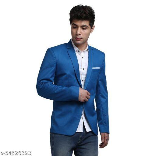An Garments Men Solid Festive Blue Blazzer