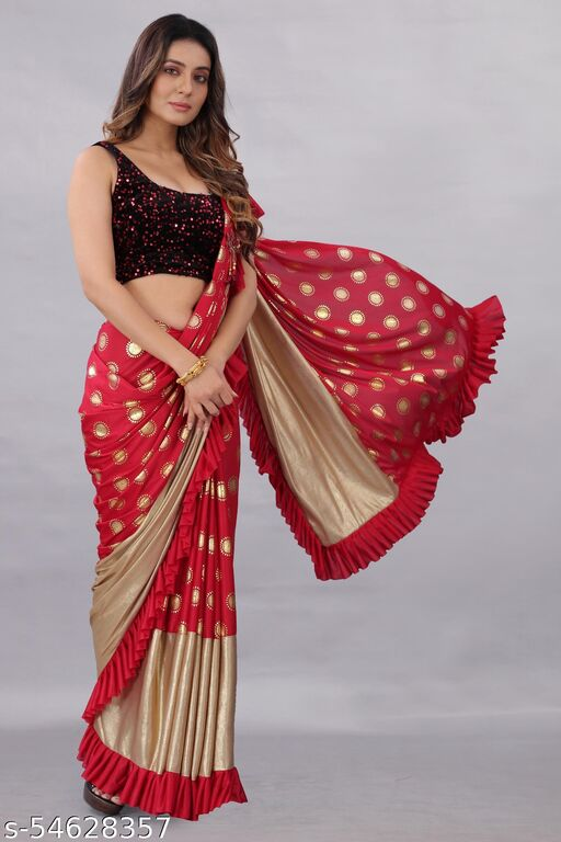 Active Feel Free Life Women's Lycra Foil Print & Squence Embroidered Saree Sarika Red