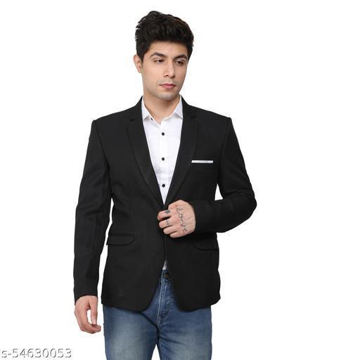 An Garments Men Solid Festive Black Blazer