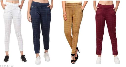 LYCRA CHECKED JEGGINGS(COMBO OF 4)