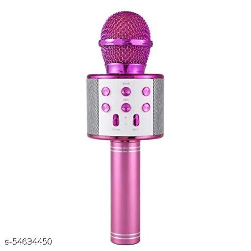 Wireless Bluetooth Karaoke Mic with inbuilt speaker/Audio Recording/Echo Adjustment and many more functions. (Pink)