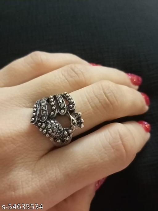 oxidised black polish ring