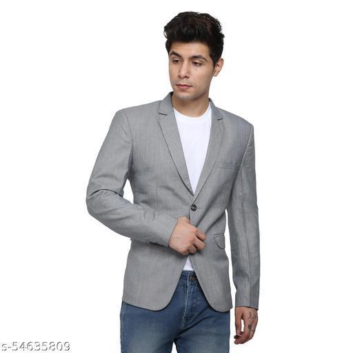 An Garments Men Solid Festive Grey Blazer