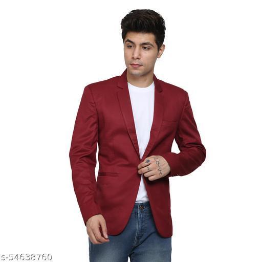 An Garments Men Solid Festive Maroon Blazer