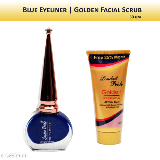 London Pride Blue Waterproof Eyeliner and Gold Facial Scrub