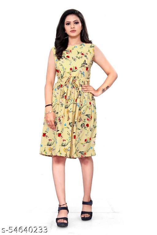 Girls Party Wear Designer Flower Printed Western Dress