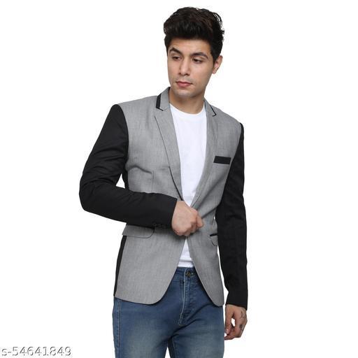 An Garments Men Solid Festive Grey,Black Blazer