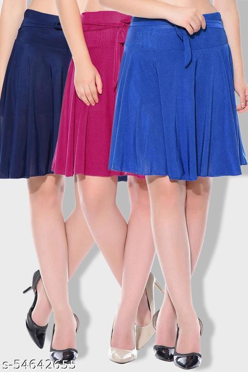 Mixcult Combo of 3 Pcs Blue Pink Blue Solid Crepe Mini/Short Length Flared Skirts