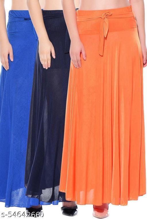 Mixcult Combo of 3 Pcs Blue Blue Orange Solid Crepe Full Length Flared Skirts