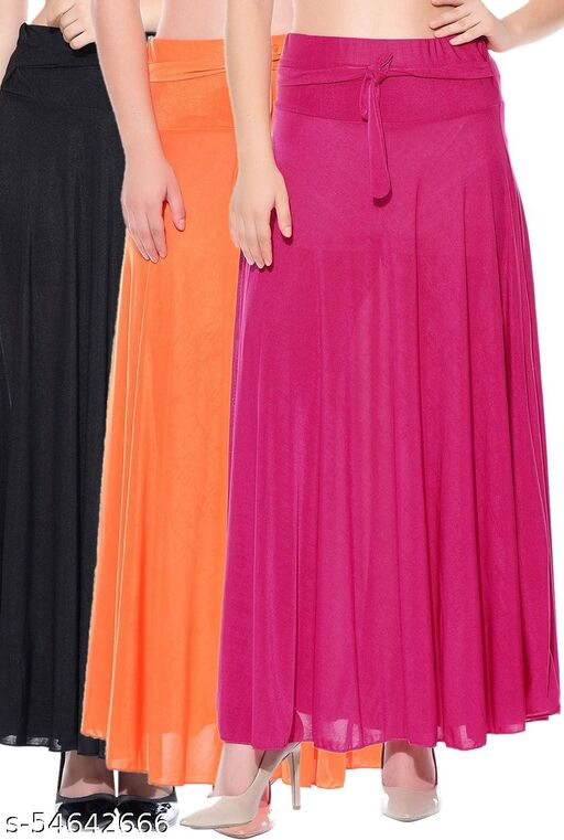 Mixcult Combo of 3 Pcs Black Orange Pink Solid Crepe Full Length Flared Skirts
