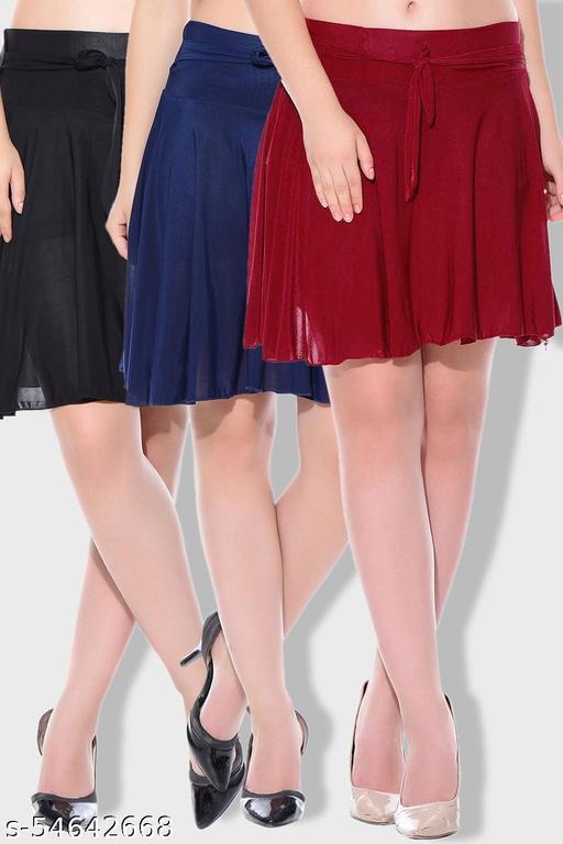 Mixcult Combo of 3 Pcs Black Maroon Blue Solid Crepe Mini/Short Length Flared Skirts