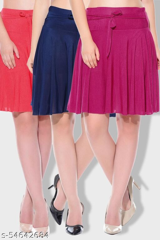 Mixcult Combo of 3 Pcs Red Blue Pink Solid Crepe Mini/Short Length Flared Skirts